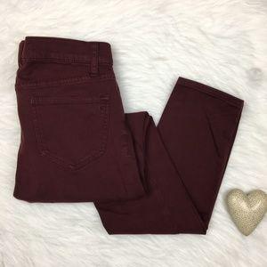 Madewell   Skinny Skinny Burgundy Sateen Jeans
